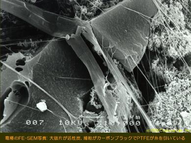 活性炭電極断面の走査型電子顕微鏡写真